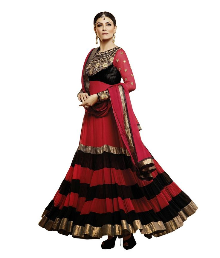 Designer black and red anarkali suit...Buy on below link : http://uttamvastra.com/product-category/retail/ OR What's app contact on : 7069883833