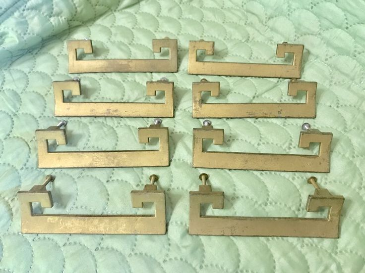 Lot of 8 Vintage Asian Motif Brass Handles Pulls Mid Century Cabinet Drawer  | eBay