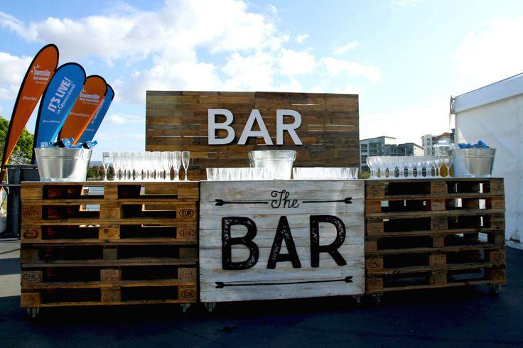 Destination Q on Victoria Bridge | Bar set with glassware http://www.edeevents.com.au/party-hire/bar-equipment/glassware
