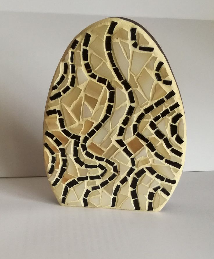 Mosaic easter egg ornament Shaped wooden  mosaic egg Table top decoration by Psifida on Etsy