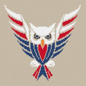 Owl USA free cross stitch pattern