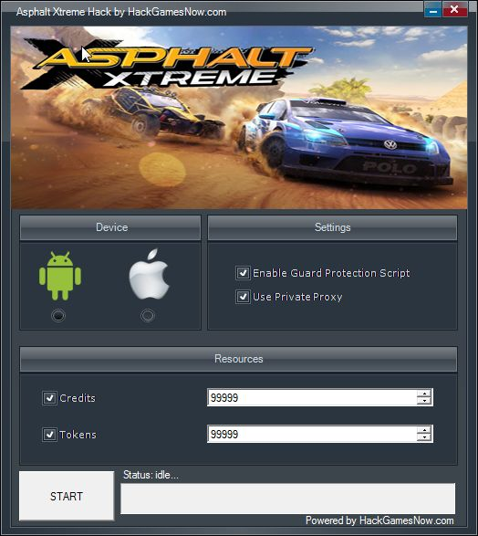 Asphalt Xtreme Hack for Credits and Tokens [Android-iOS] http://hackgamesnow.com/asphalt-xtreme-hack-for-credits-and-tokens-android-ios/  Hello everyone! Asphalt Xtreme Hack is here! If you like speed and horsepower, this game is for you. But for a better gameplay you will need credits and tokens. Now you can have them very easy, without spending your money on virtual shop. We made this hack for you, you can use it multiple times, without be afraid to get caught and get banned.