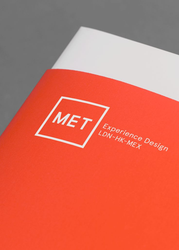 MET – Experience Design / Branding / Identity / Design / Logo / Experiential / Square / Bright / Colour Palette / Orange / London / Hong Kong / Mexico City / Book / Sleeve / 30 Years
