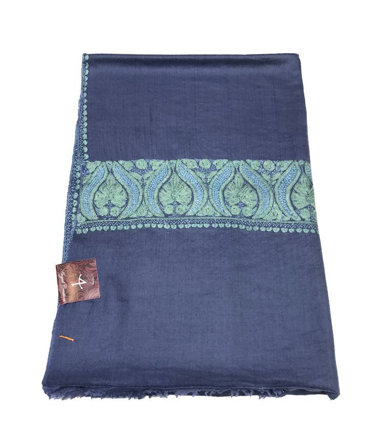 Sozni Hand Embroidered Pure Pashmina Shawl, Pure Cashmere Shawl, Wrap, Shawl, Hand Embroidery, Embroidered by AngadCreations on Etsy #pure #pashmina #cashmere #hand #embroidered #sozni #needle #work #kashmiri #embroidery #natural #Kashmir #multi #colour #emb #shawl #stole #orni #india #wrap #scarf #indian #traditional #ethnic #wear #grey #blue #vintage