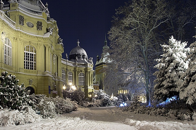 Winter Wonderland by gatoth.  Vajdahunyad Castle in the City Park of Budapest, Hungary.