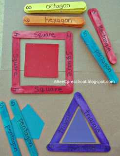 Looks fun: A, Bee, C, Preschool: Building Shapes. Kindergarten readiness: Colored craft sticks are labeled with the number of sides each shape has, ie: 3 purple sticks - triangle.  The children will choose a color and build the matching colored shape from the sticks.