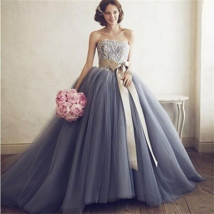Custom Ball Gown Grey Wedding Dresses 2015 Strapless Backless Lace Sashes Floor Length Tulle Bridal Gowns-in Wedding Dresses from Weddings & Events on Aliexpress.com | Alibaba Group