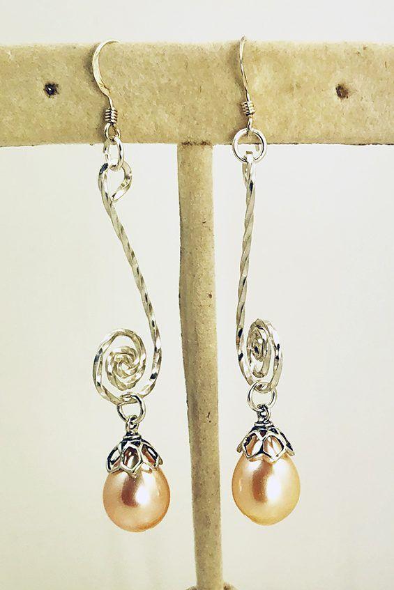 Lovely Pearl Drop Gold Dangle Earrings