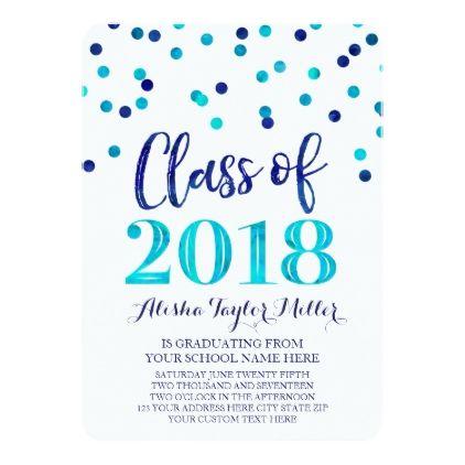 Blue Watercolor Confetti Photo Graduation Card - graduation invitations party grad cards