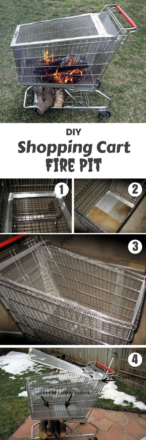 Check out the tutorial on how to make a DIY repurposed shopping cart fire pit @istandarddesign