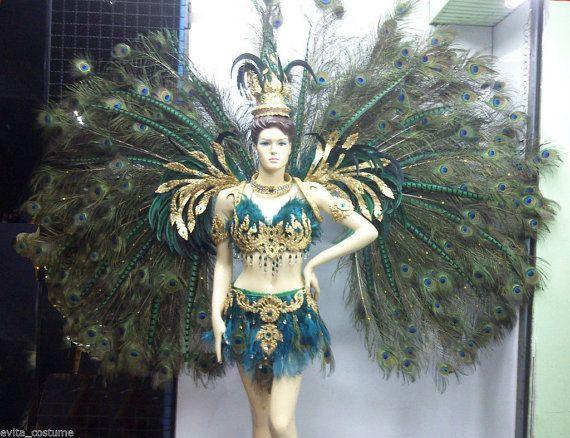 Voir la Vegas plume paon ailes adaptateur Costume ensemble XS-XL