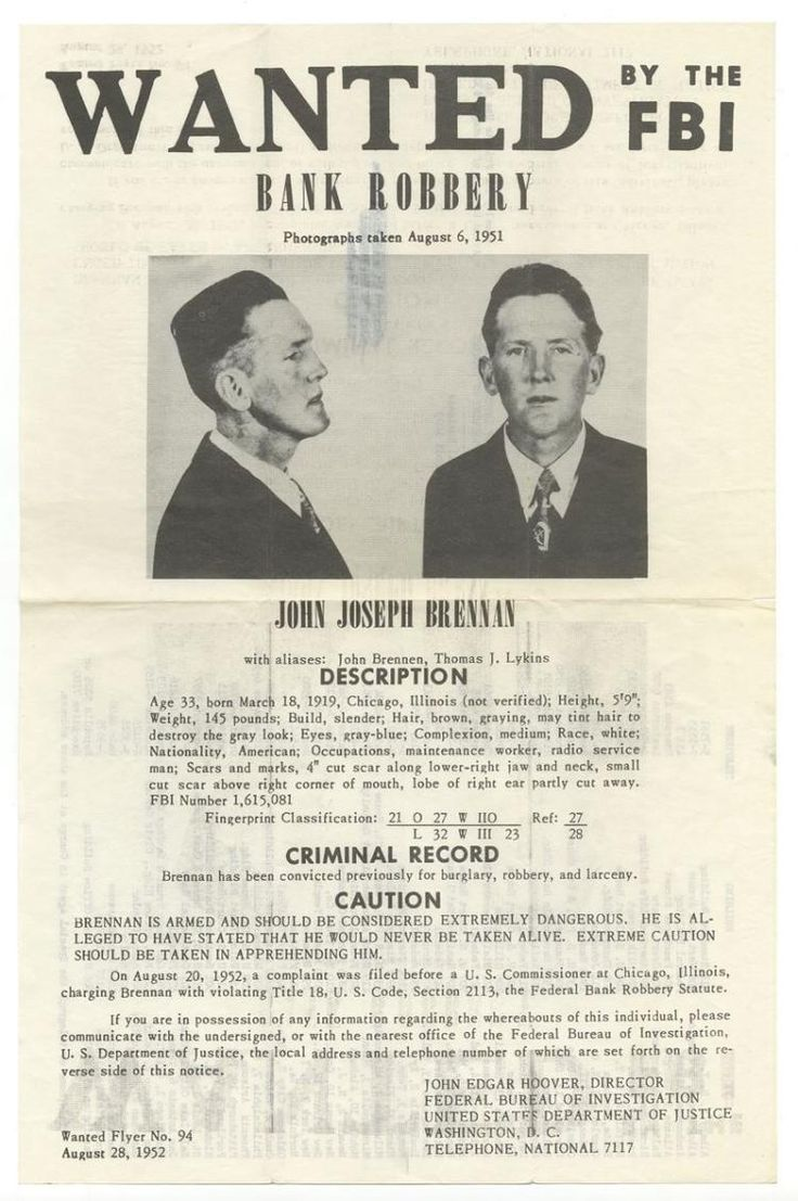 The vintage mugshots of shoplifters bank robbers and murderers from - John Joseph Brennan American Bank Robber Vintage Wanted By The Fbi Poster