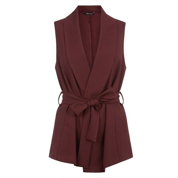 Burgundy Belted Wrap Sleeveless Blazer (49 AUD) ❤ liked on Polyvore featuring outerwear, jackets, blazers, burgundy, red sleeveless jacket, no sleeve jacket, sleeveless jacket, wrap blazer and collar jacket