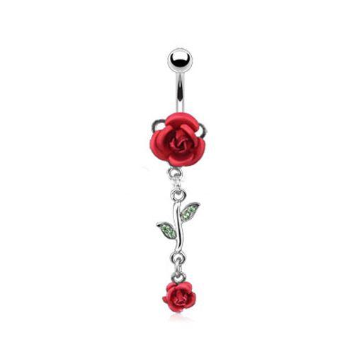 Navelpiercing dubbele roos rood