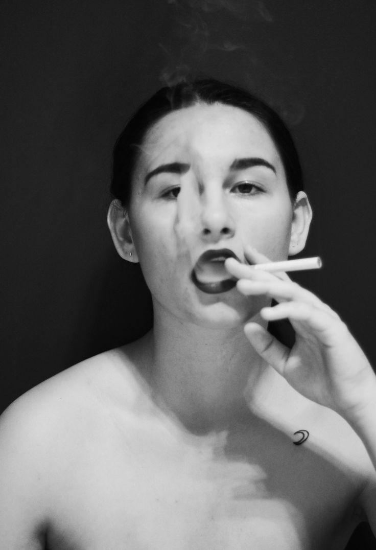 self portrait, smoking, vaping, moon tattoo, small moon tattoo, black and white, b&w, portrait, red lips