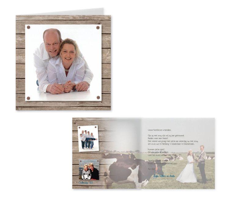 Studio Deksels - KAARTopMAAT - uitnodiging - 25 jaar getrouwd - boerderij - foto - hout