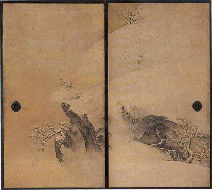 Маруяма Окё ( 1733 – 1795), «Снежный пейзаж», Тушь, золото, белая бумага, Токио национальный музей