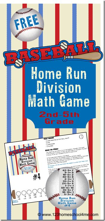 Division Math Games - Home Run Division is a FREE printable math game that makes practicing division fun. This hands on math game is for 2nd, 3rd, 4th and 5th Grade students.  This baseball themed math activity is perfect for spring!