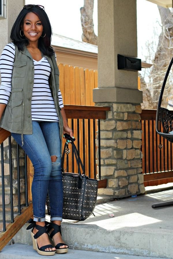 Spring Transition Utility Vest Outfit