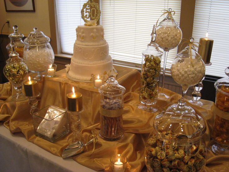 Gold candy in apothecary jars