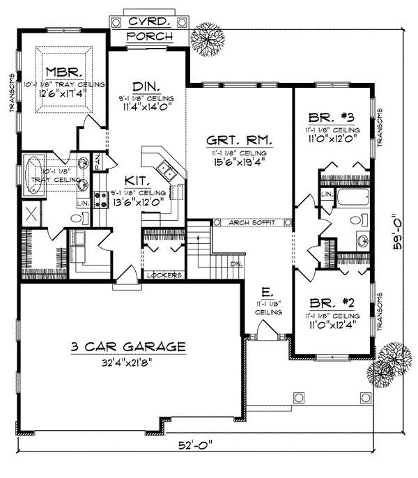 Bungalow house plan 73005 the two pocket doors and mud for House plans with mudrooms
