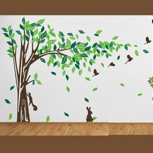 XLarge Tree and Bird Removable Wall Art Decals Right
