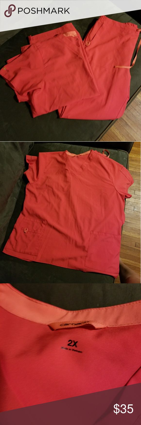 Carharrt scrub set Gorgeous coral carharrt scrub set. NWOT. just to big for me now due to losing weight. comfortable material. top is 2xl and bottoms are xl Carhartt Tops