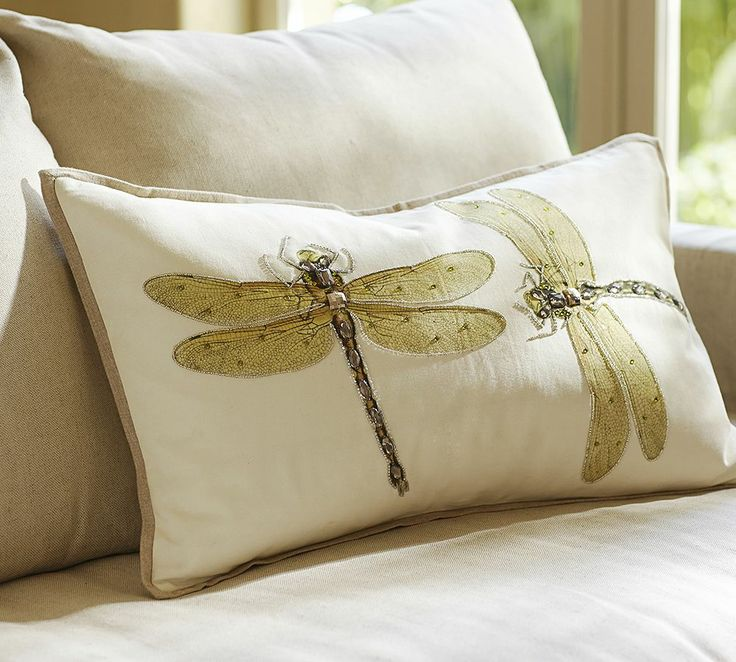 Luxe Dragonfly Embroidered Lumbar Pillow Cover ... create some version of this