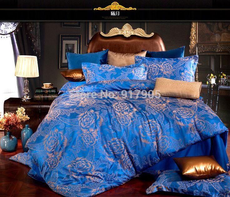 Luxury Discount European Style Satin Jacquard Bedding Sets,Chinese Queen Wedding Bedding Set, Royal Blue Comforter,Duvet Cover -in Bedding Sets from Home & Garden on Aliexpress.com | Alibaba Group