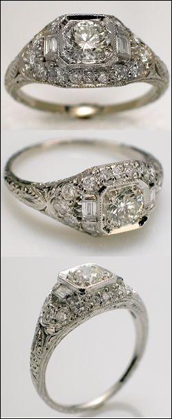 antique art deco engagement ring - Art Deco Wedding Ring