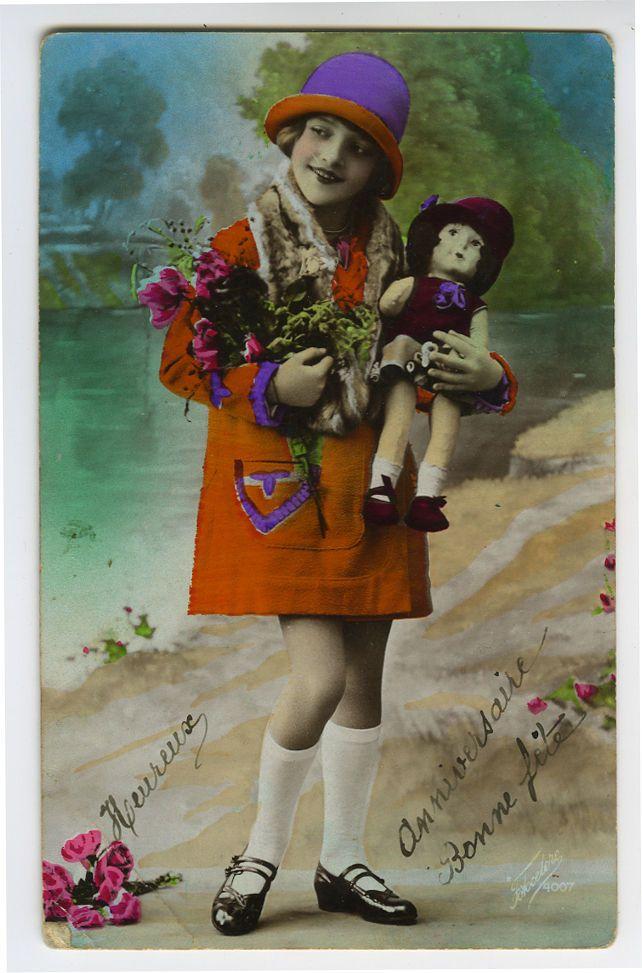 1920s ребенок дети милая маленькая девочка с куклой тонированные французский виртуал открытка | eBay