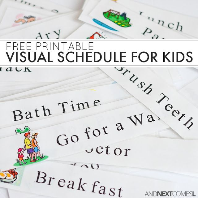 Free printable daily schedule for kids - great for kids with autism and/or sensory processing disorder from And Next Comes L