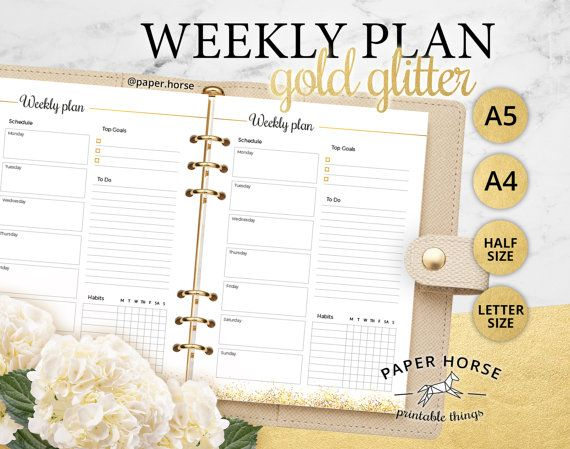 Half Letter A5 A4 Gold Weekly planner by PaperHorseDesign on Etsy