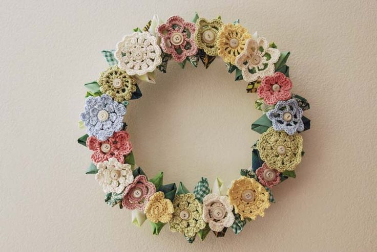 Vintage Inspired Wreath..Made with crocheted flowers