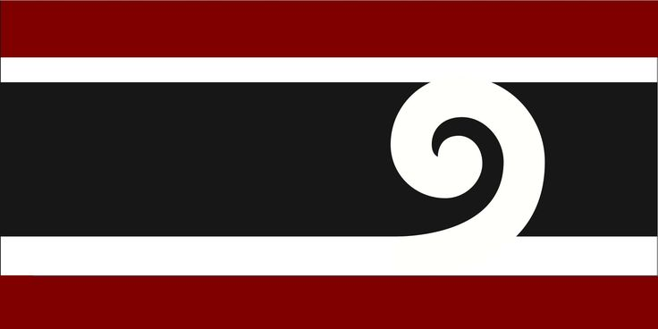 Variant of Ron Davidson's Design by Variant of Ron Davidson's Design  from International, tagged with: Black, Red, White, Horizontal stripes, Koru, Māori culture.