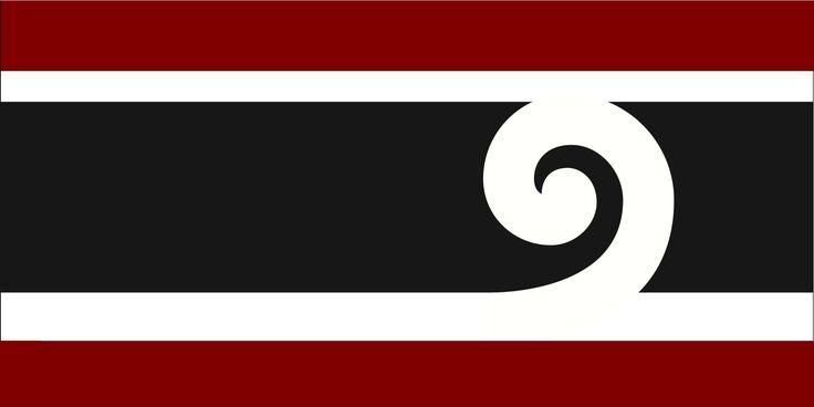 Variant of Ron Davidson's Design by Variant of Ron Davidson's Design  from International, tagged with: Black, Red, White, Horizontal stripes, Koru, Māori culture.