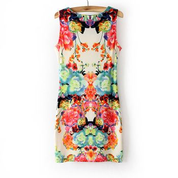 High style Collect waist thin printed sleeveless dresses flower pattern  close fitting star loves slender figure