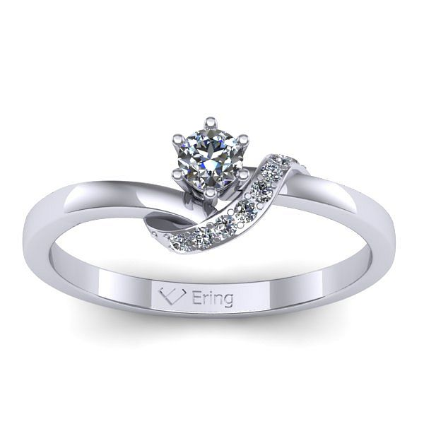 Inelul este realizat din aur alb 14k, greutate: ~2.00gr. Produsul are in componenta sa: 1 x diamant, dimensiune: ~3.00mm, greutate: 0.10ct , culoare: G, claritate: VS2, forma: round 7 x diamant, dimensiune: ~1.10mm, greutate totala: ~0.04ct, culoare: G, claritate: SI1, forma: round