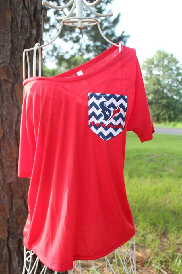 Houston Texans Off Shoulder Chevron Pocket Shirt by SewSnazzybyBrook on Etsy
