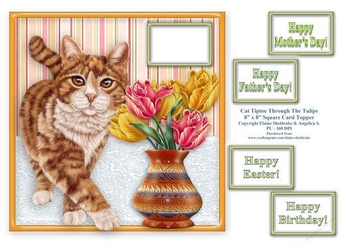 "A gorgeous ginger tabby cat tiptoeing across the table, trying not to knock the vase of Tulips over. This 8"" x 8"" card topper is purrfect for Birthdays, Mother's Day, Father's Day and Easter and greetings tags are included. It can easily be reduced using your photo printer's software, for example, print two of these sheets onto an A4 and it will make two 4"" x 4"" cards. Great for smaller cards, easels, stepper cards etc.  Greetings included are as follows:  Happ..."