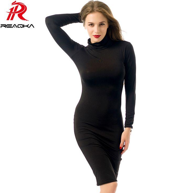 Reaqka 2017 여성 긴 소매 섹시한 클럽 dress 미디 연필 bodycon 자기 초상화 파티 드레스 플러스 사이즈 의류 xxl