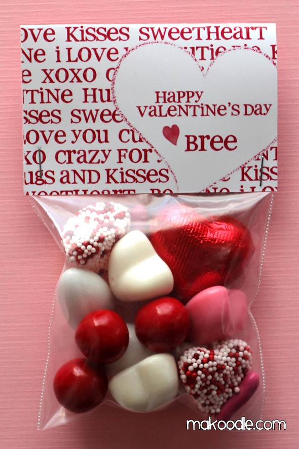 """free printable valentine's bag topper.  Also on this site there is a topper that says """"hugs and kisses"""""""