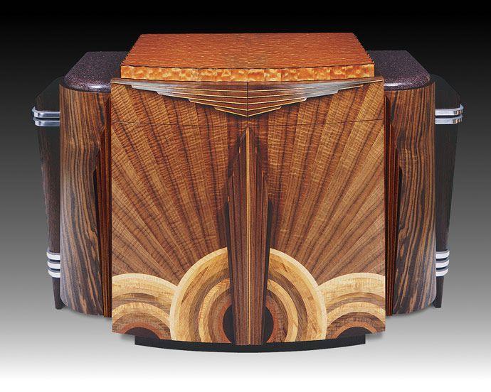 "Deco Credenza, 24""w x 53""l x 32""h walnut, sapele, wenge, 9 additional wood species, aluminum - by Heitzman***"