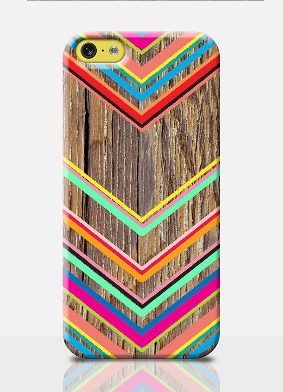 Pretty *wood effect* (not real wood) design with a bright, colourful chevron pattern. You need this cell phone accessory on your phone! Or buy it as a great gift for a friend, theyll love you for it!  **Please note: This is NOT a phone case made of wood - it is a high quality print, not wooden!**  About our *SLIM CASES*  * Design covers back & sides of the case * Permanent glossy design - not a sticker * Wow factor colours / Fade resistant * Slim but tough premium quality plastic * S...