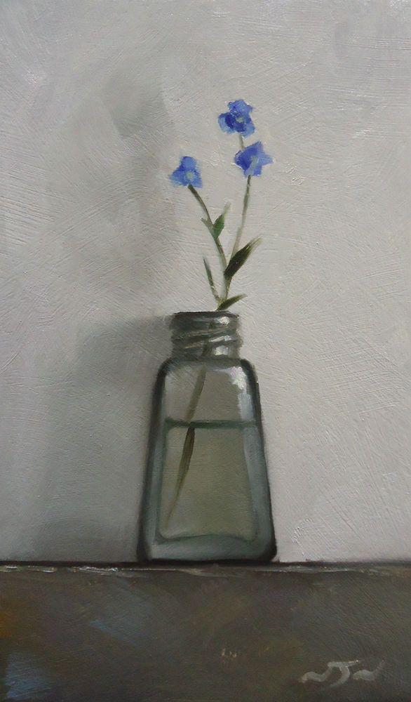 Original Oil Painting - Forget-me-Not - Contemporary Still Life Art - Nelson