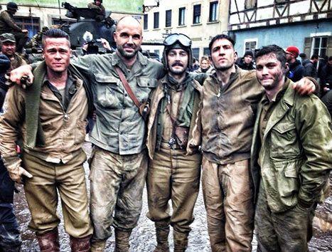 Brad Pitt Poses With Shia LaBeouf, Kevin Vance, Jon Bernthal and Logan Lerman - Costars on Fury Set: Pic - @Us Weekly