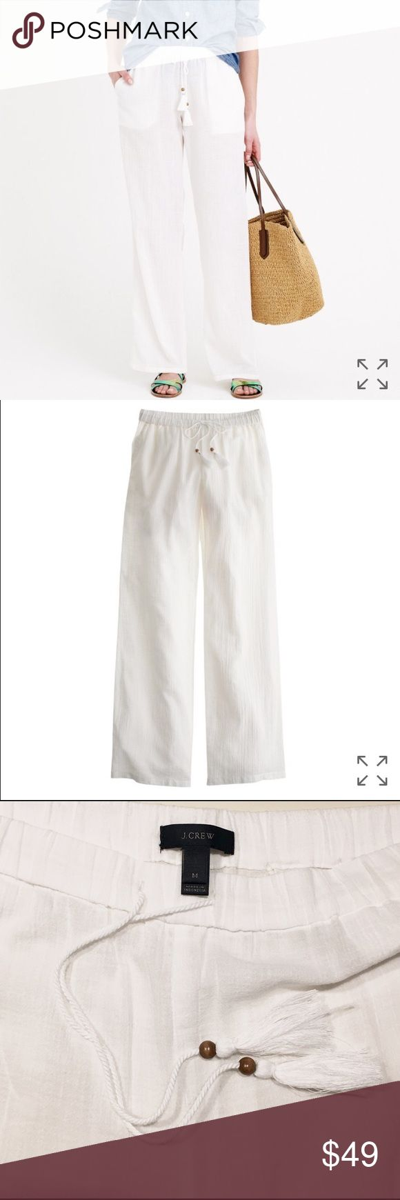 """J. Crew Gauze Cabana Beach Pant J. Crew cotton beach pants in white. Size Medium, worn once, great condition, no flaws or stains. J. Crew calls them your """"extra motivation to book that sunny getaway"""". Sheer cotton, elastic waistband with tassel drawstring. Inseam 32in. Sold out online! J. Crew Pants Wide Leg"""