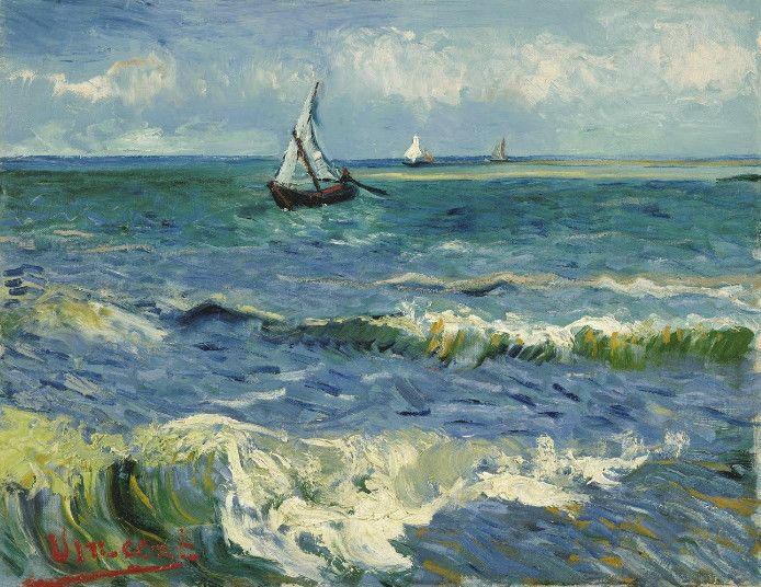 "Vincent van Gogh, Seascape near Saintes-Maries-de-la-Mer, June 1888. Van Gogh Museum. ""My dear Theo, I'm writing to you from Saintes-Maries on the  Mediterranean at last — the Mediterranean — has a colour like mackerel,  in other words, changing — you don't always know if it's green or purple  — you don't always know if it's blue — because a second later, its  changing reflection has taken on a pink or grey hue."" [src]"