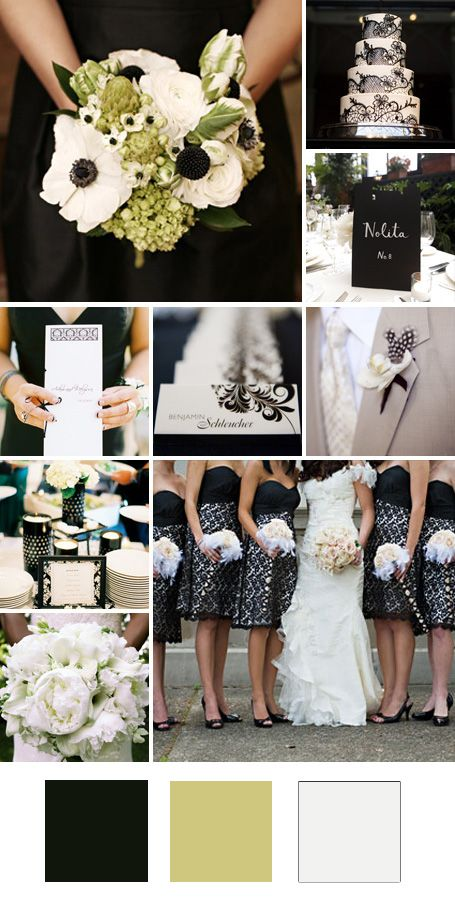 Love this. - -Black + Pale Green + White    Good for: A formal spring wedding.    Tips for pulling it off: Keep your wedding colors from looking too stark by swapping out bright white for creamier or gray-tinted hues.