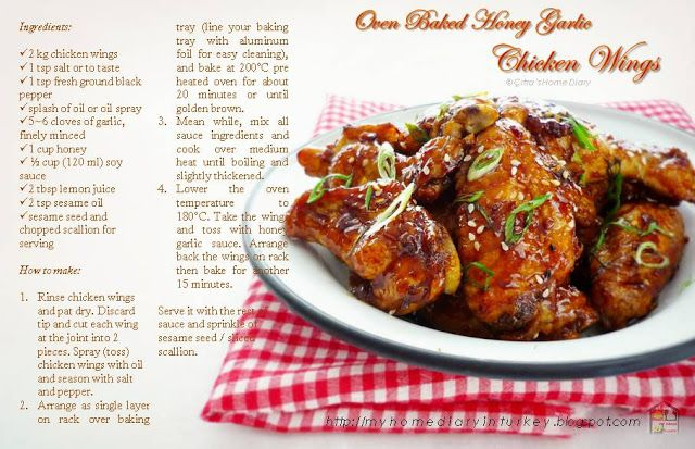 Citra's Home Diary: Oven Baked Honey Garlic Chicken Wings